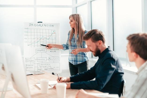 Femme d'affaires discutant de la performance financière lors d'une réunion de travail avec les employés