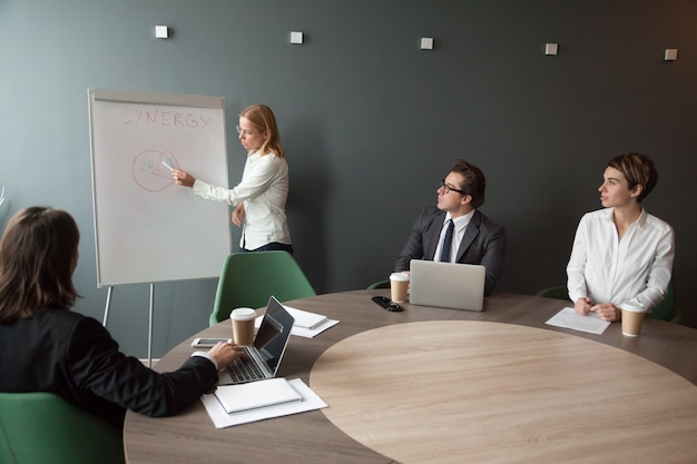 Femme d'affaires donnant la présence à la réunion de l'équipe de l'entreprise au bureau moderne
