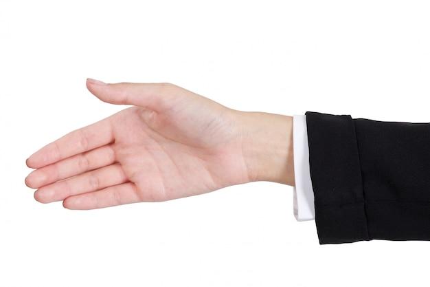 Femme affaires, donner, main, poignée main, côté, isolé, blanc