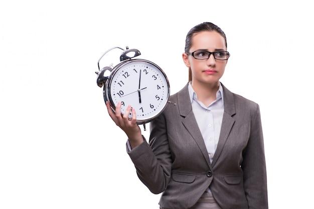 Femme d'affaires avec horloge dans le concept d'affaires
