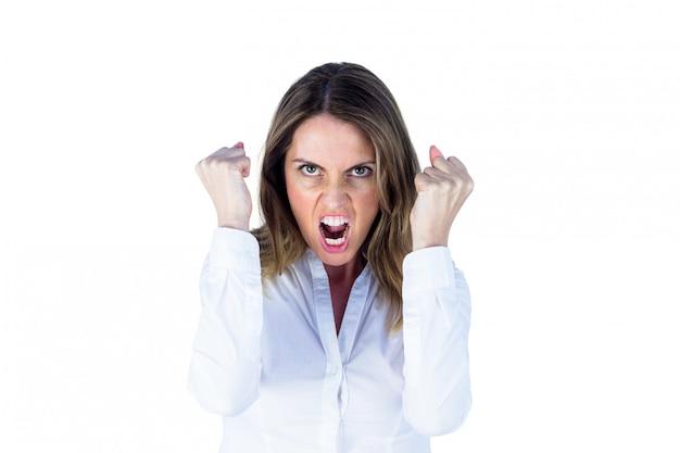 Femme d'affaires hurlant en colère