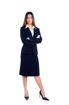 Femme d'affaires indien d'asie pleine longueur avec costume bleu