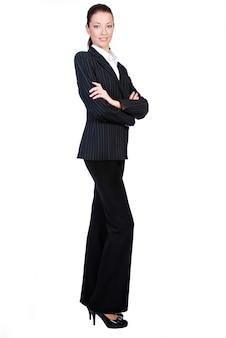 Femme affaires, isolé, blanc