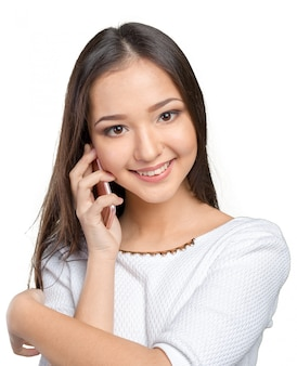 Femme d'affaires isolé avec téléphone portable
