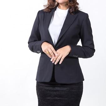 Femme d'affaires isolée sur fond blanc.