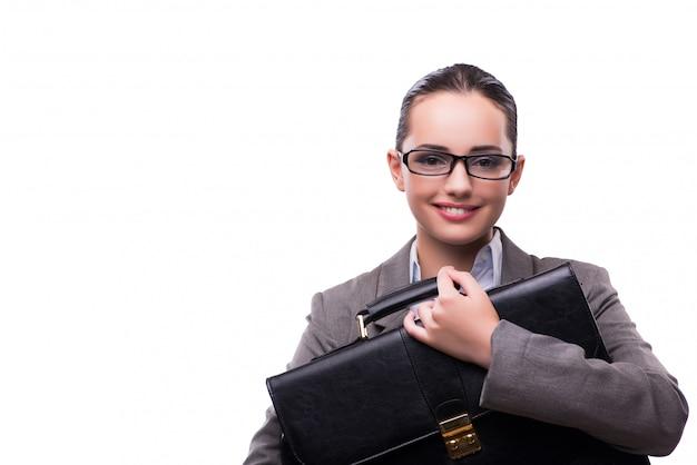 Femme d'affaires avec mallette isolé sur blanc