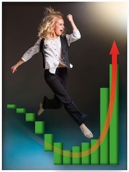 Femme d'affaires montant un escalier et un tableau des ventes en croissance sur fond noir