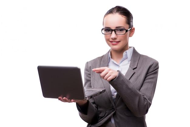 Femme d'affaires avec ordinateur portable isolé sur blanc