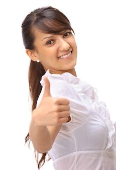 Femme d'affaires avec le pouce en l'air geste