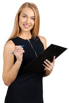 Femme d'affaires avec le presse-papier