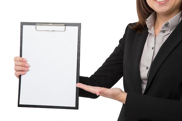 Femme affaires, presse-papiers
