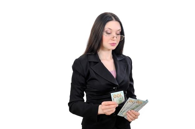 Femme d'affaires, proposition d'entreprise, fonctionnement de l'argent et de la monnaie
