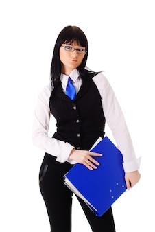 Femme d'affaires prospère avec dossier