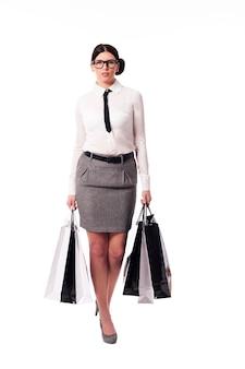 Femme affaires, à, sacs provisions