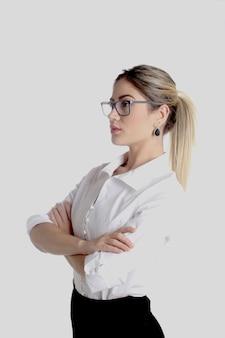 Femme affaires, et, secrétaire, mettre lunettes