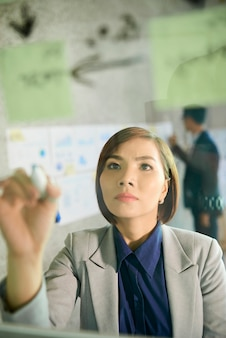 Une femme d'affaires sérieuse et pensive écrivant sur un mur de verre essayant de conclure et de résoudre le problème qu'elle a