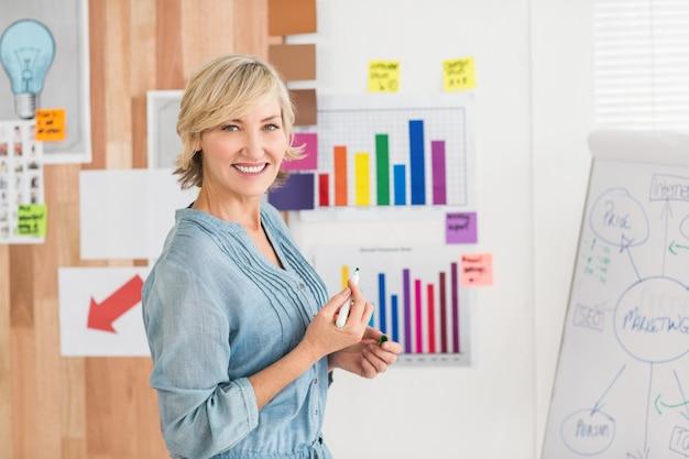 Femme d'affaires souriant écrit sur un tableau blanc