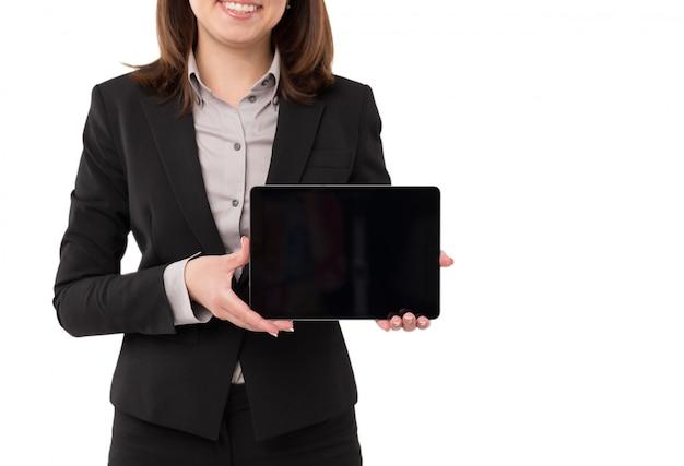 Femme affaires, à, tablette
