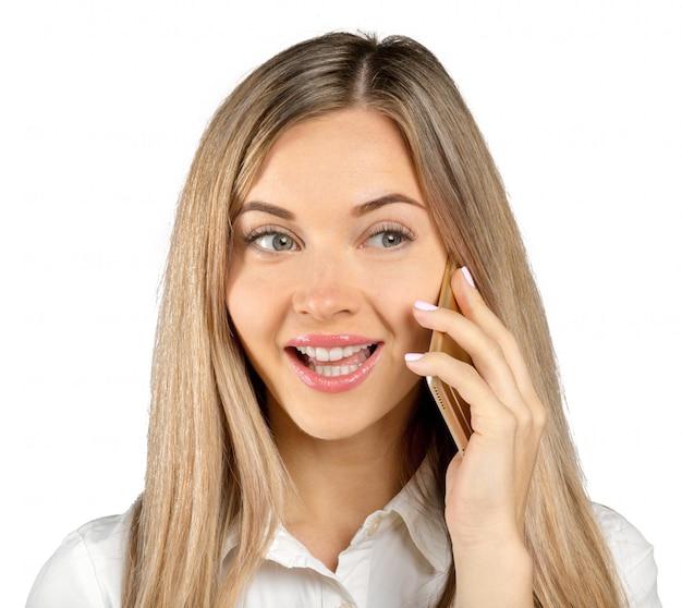 Femme d'affaires avec téléphone portable, isolé sur blanc