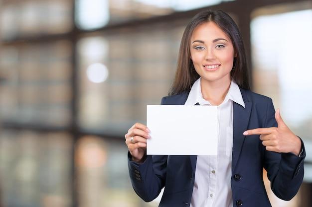 Femme affaires, tenue, bannière