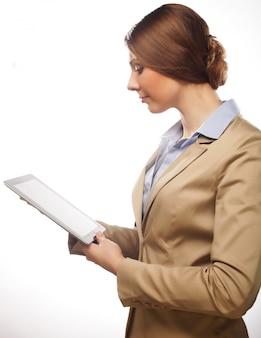 Femme affaires, tenue, tablette tactile