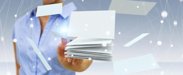 Femme d'affaires touchant le rendu 3d de carte de visite flottante