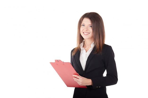 Femme d'affaires travaillant avec le presse-papier