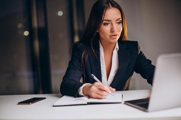 Femme d'affaires travaillant tard dans la nuit sur l'ordinateur au bureau