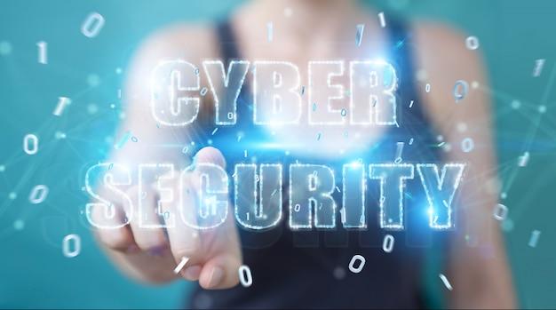 Femme affaires, utilisation, hologramme texte, cybersécurité