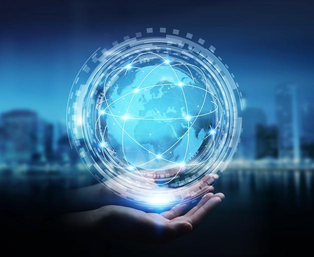 Femme affaires, utilisation, numérique, tactile, interface mondiale, à, son, doigt
