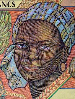 Femme africaine, portrait, vieux, argent central africain