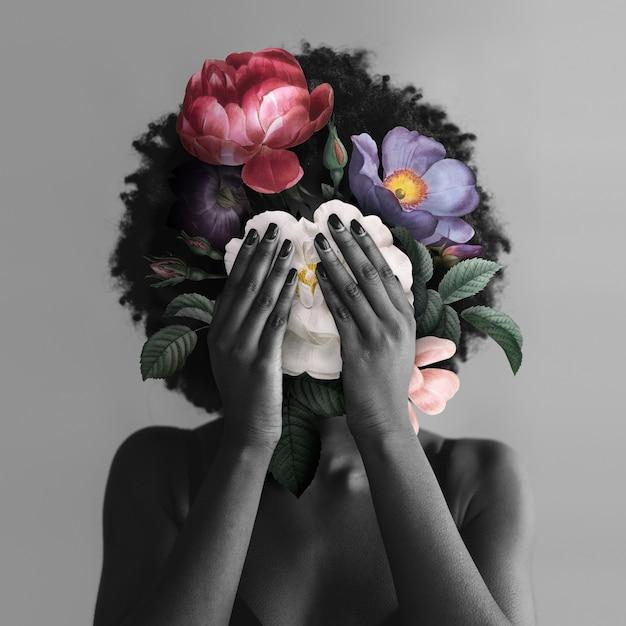 Femme afro-américaine avec des fleurs sur les réseaux sociaux du mouvement blm