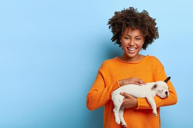 Une femme afro joyeuse caresse son chien préféré, aime les animaux domestiques, tient un petit bulldog de race, veut donner un animal à un ami, vêtu d'un pull orange