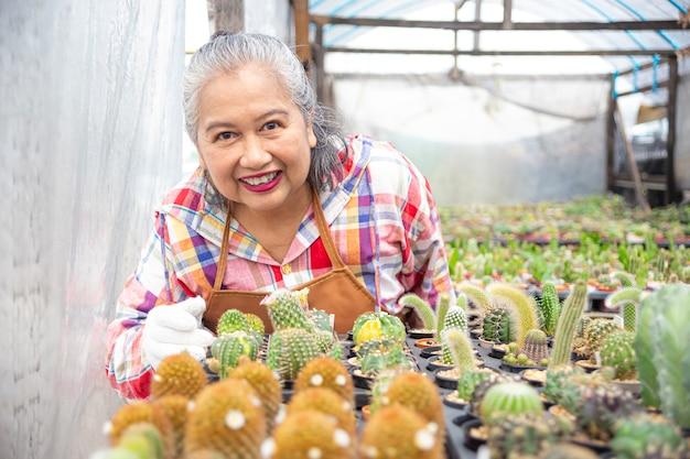 Femme âgée heureuse avec beau cactus