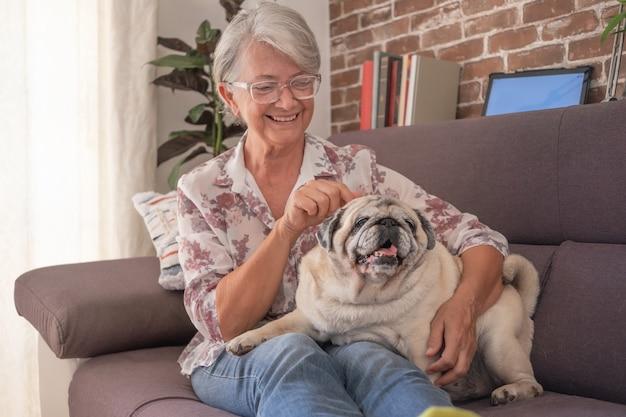 Femme âgée souriante assise sur un canapé à la maison avec un vieux chien carlin allongé sur ses jambes amour et tendresse