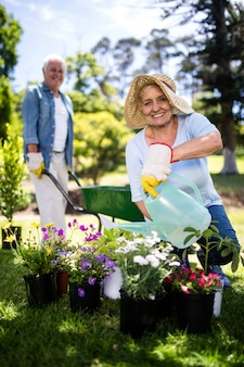 Femme aînée, arroser, fleur, plante, dans parc