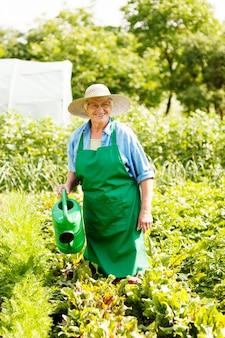 Femme aînée, arroser, a, plante