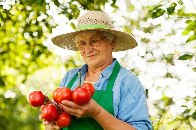 Femme aînée, tenue, tomates