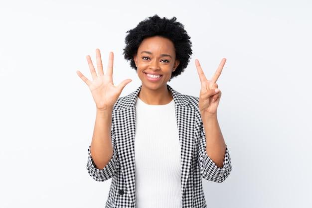 Femme américaine africaine, sur, mur