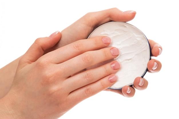 Femme, application, crème hydratante, sur, mains