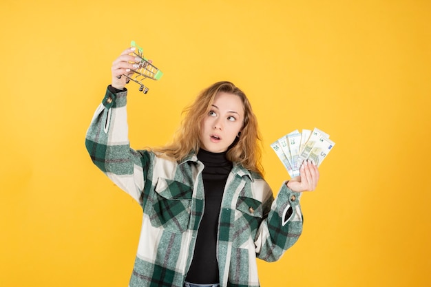 Femme avec de l'argent et panier, concept de magasinage en ligne
