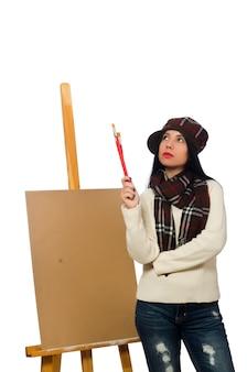 Femme artiste isolée sur le blanc