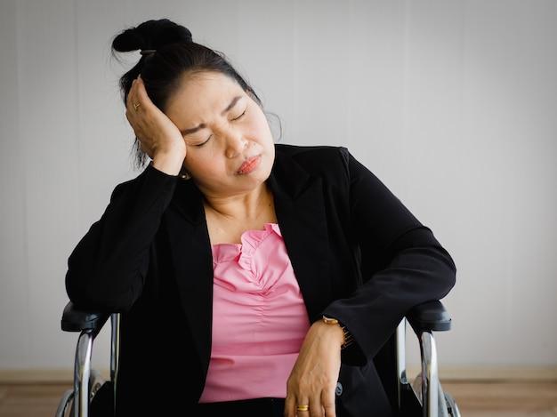 Femme asiatique âgée d'âge moyen assise sur un fauteuil roulant, ressentant une douleur causée par un mal de tête soudain et une attaque cérébrale et tenant sa tête avec un visage stressé. concept de problème de cerveau et de tête.