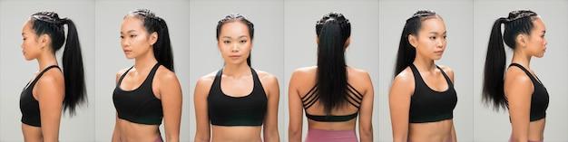 Femme asiatique après avoir appliqué la coiffure. pas de retouche, visage frais avec acné, lèvres, yeux, joue, belle peau lisse. fond blanc d'éclairage de studio, pour le traitement de thérapie esthétique