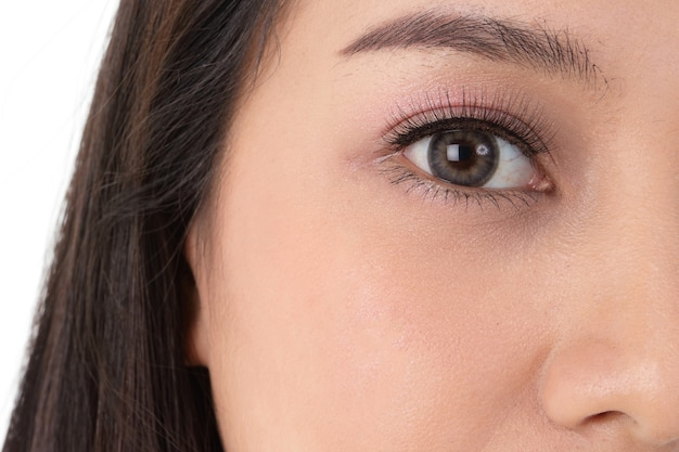 Femme asiatique aux grands yeux, belle, pétillante. avoir un visage brillant et jeune. concept de beauté, soins de santé
