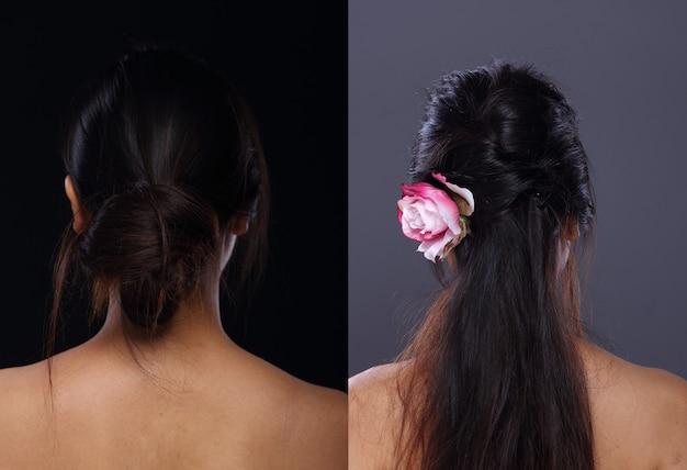 Femme asiatique avant après avoir appliqué la coiffure. pas de retouche, visage frais avec une peau agréable et lisse. studio éclairage fond gris noir