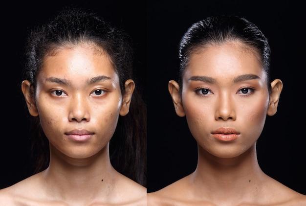 Femme asiatique avant après avoir appliqué la coiffure. pas de retouche, visage frais avec une peau agréable et lisse. studio éclairage fond noir. photo d'identité portrait lumière dramatique