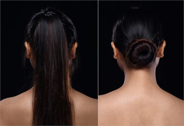 Femme asiatique avant après avoir appliqué la coiffure. pas de retouche, visage frais avec une peau agréable et lisse. studio éclairage fond noir. vue de dos de côté arrière portrait
