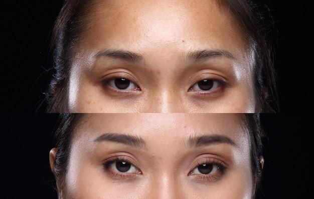 Femme asiatique avant après avoir appliqué la coiffure. pas de retouche, visage frais avec une peau agréable et lisse. studio éclairage fond noir. yeux de portrait bruns uniquement