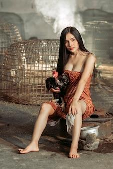 Femme asiatique, dans, costume traditionnel